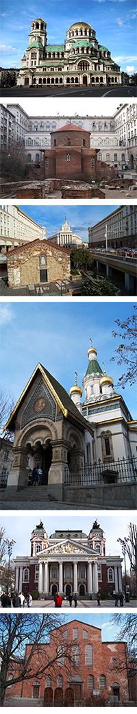 Pictures from Sofia - St. Alexander Nevski Cathedral, St. Georgi Rotunda, St. Sofia Church, Russian Church St. Nikolay, The Ivan Vazov National Theatre